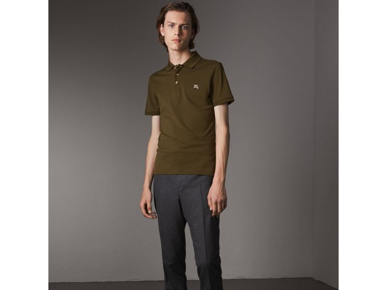 Cotton Piqué Polo Shirt in Dark Olive - Men | Burberry - cell image 4