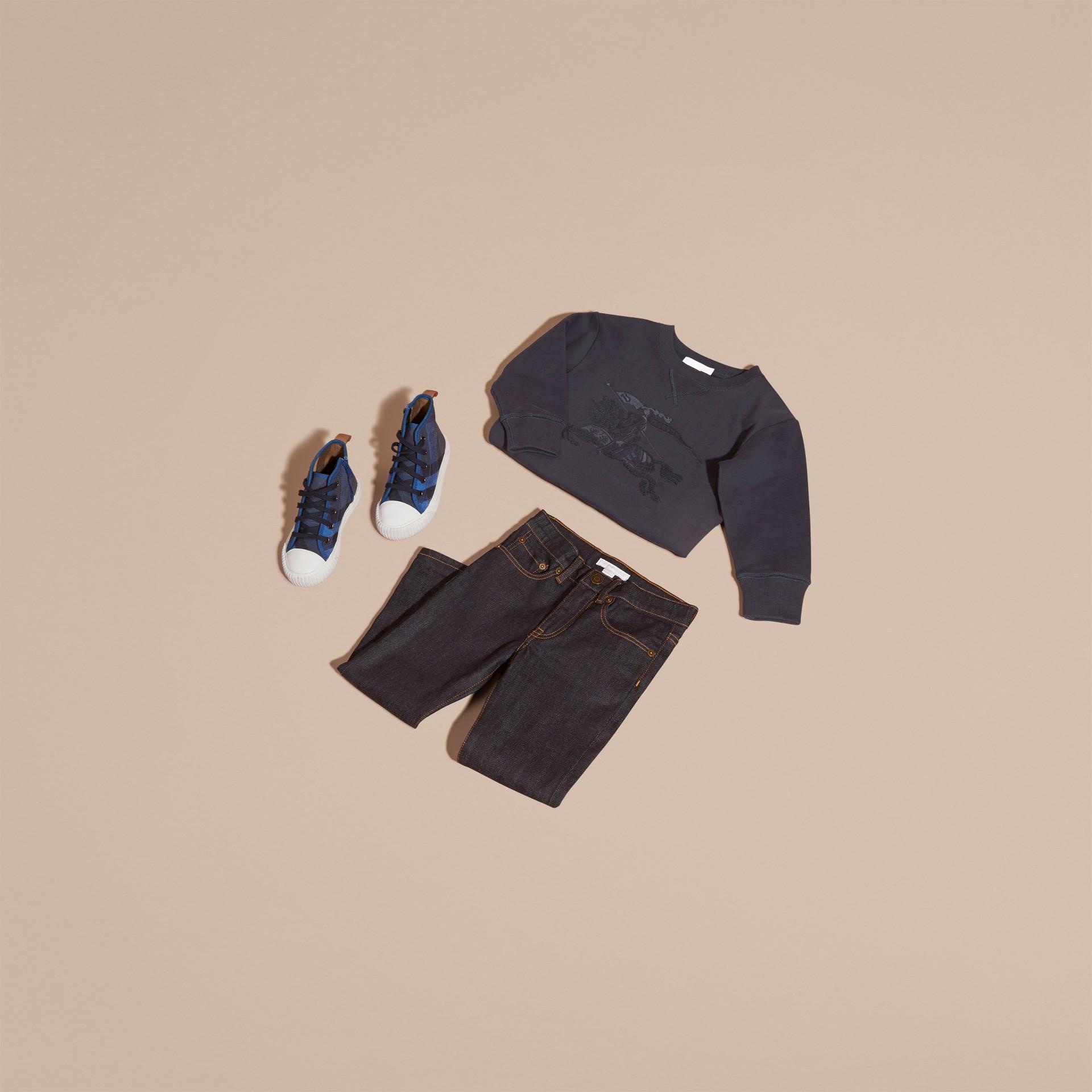 Dark navy Equestrian Knight Detail Cotton Sweatshirt Dark Navy - gallery image 5