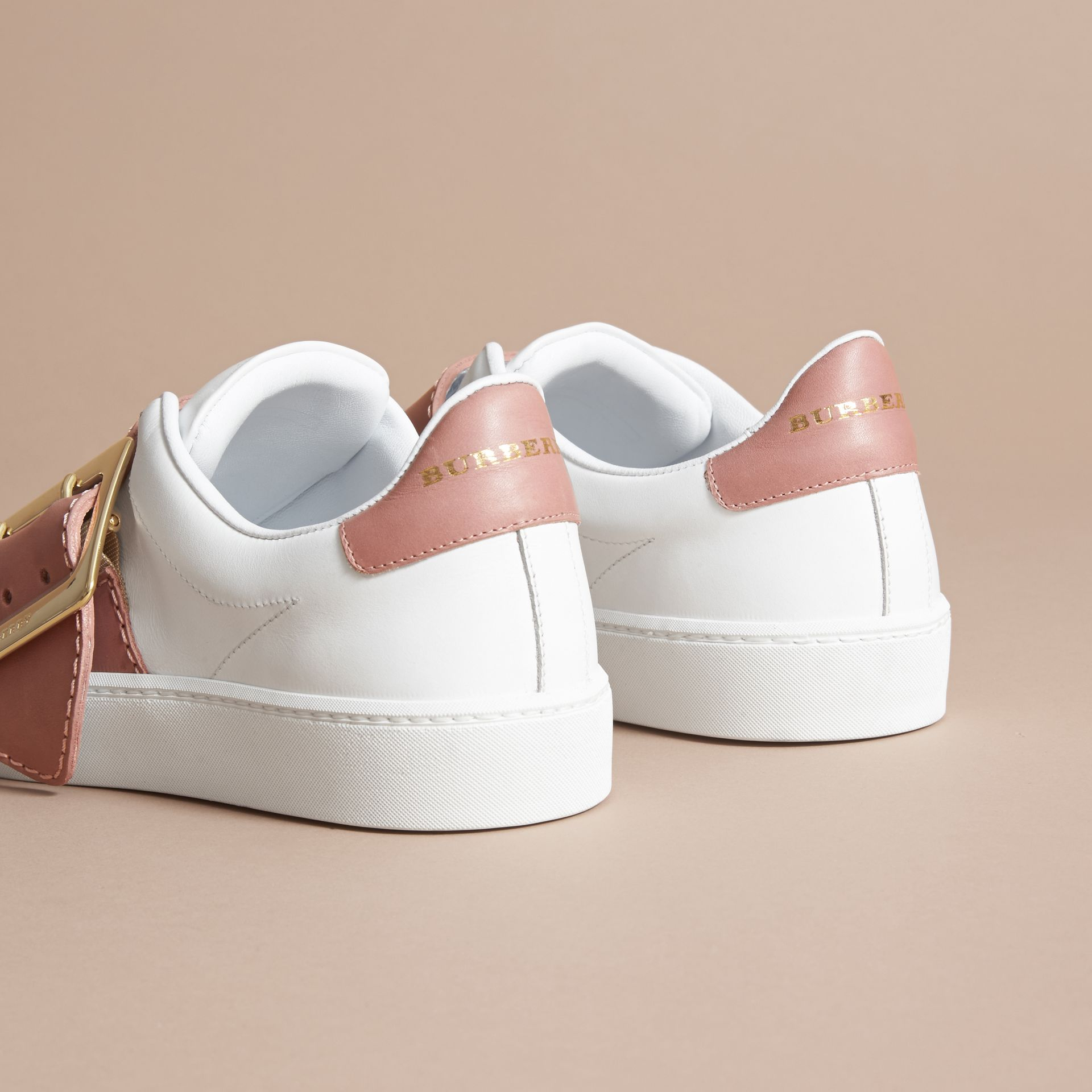 Buckle Detail Leather Trainers in Pink Apricot - Women | Burberry - gallery image 4