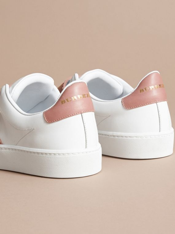 Buckle Detail Leather Trainers in Pink Apricot - Women | Burberry - cell image 3