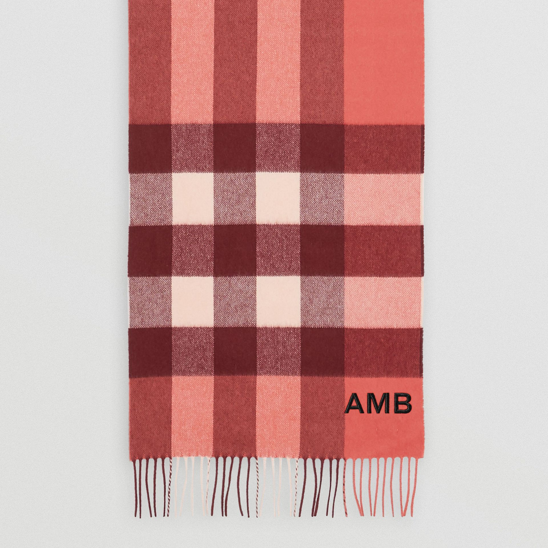 Check Cashmere Scarf in Clay Sienna | Burberry United Kingdom - gallery image 8