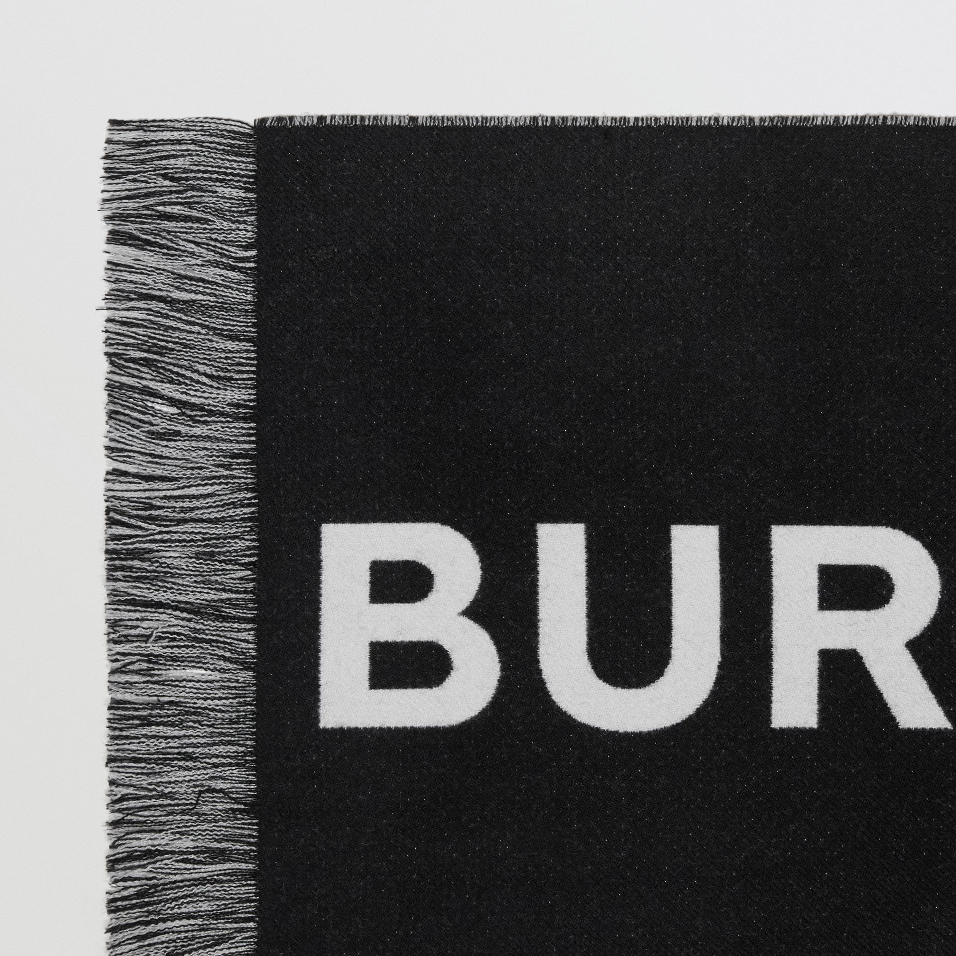 Logo Wool Scarf in Black/white | Burberry - gallery image 5