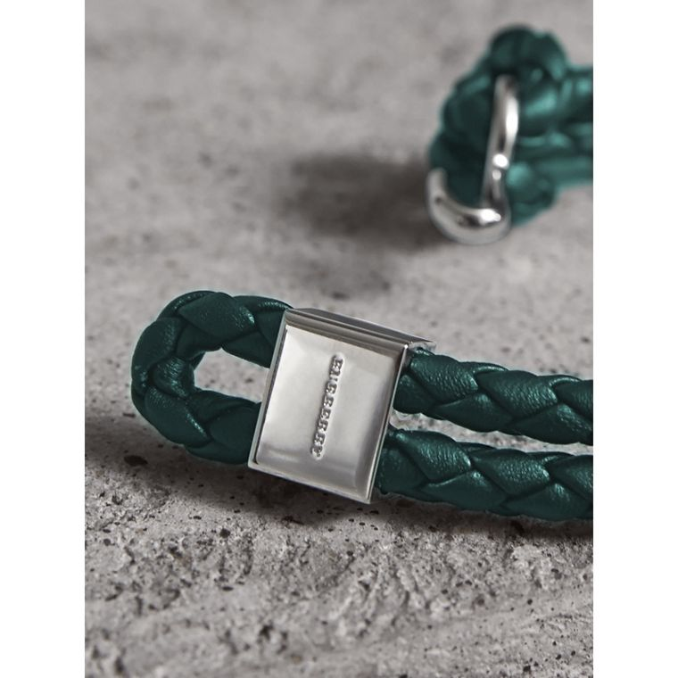 Braided Leather Bracelet in Dark Teal - Men | Burberry Australia - cell image 1
