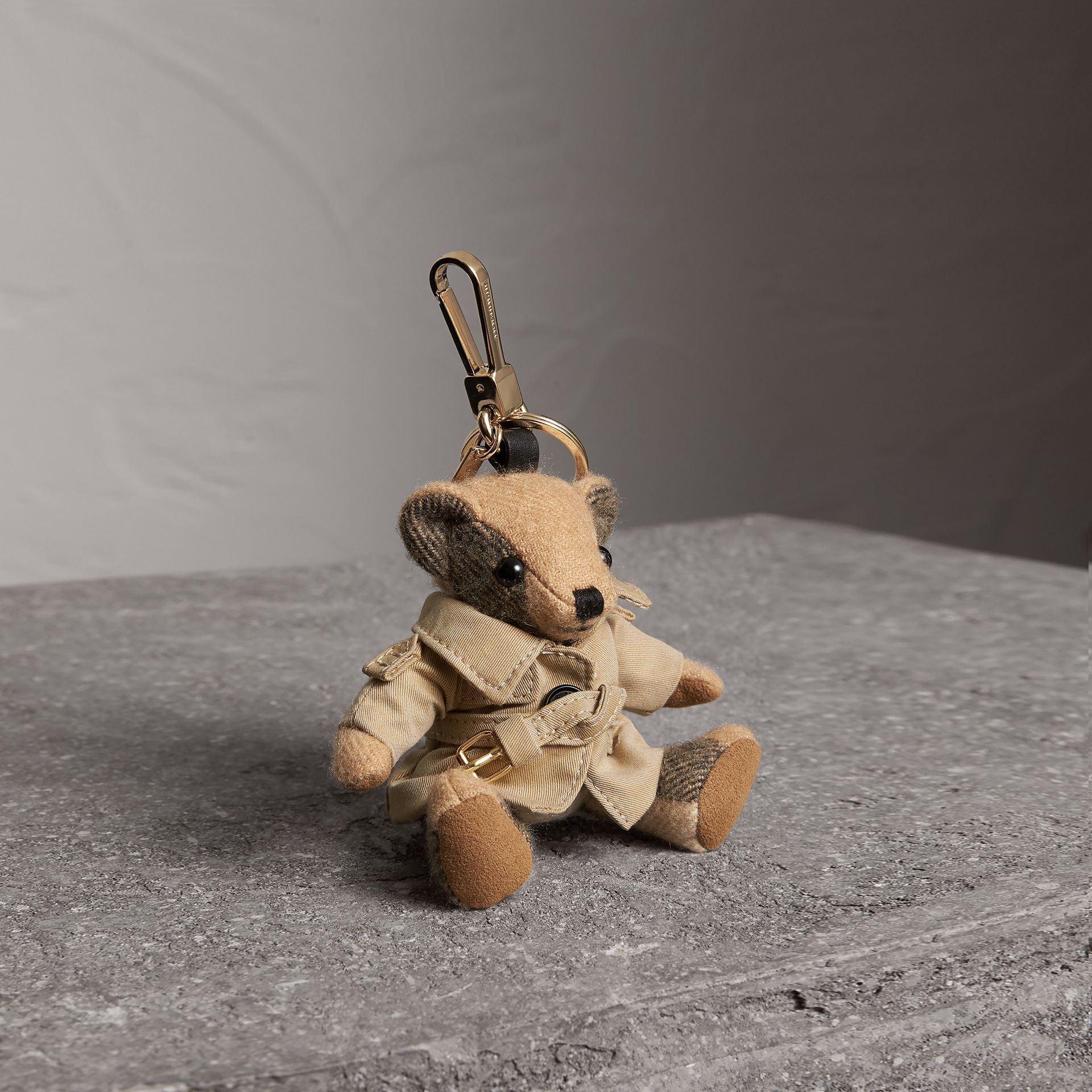 Thomas Bear Charm in Trench Coat in Camel | Burberry Australia - gallery image 0