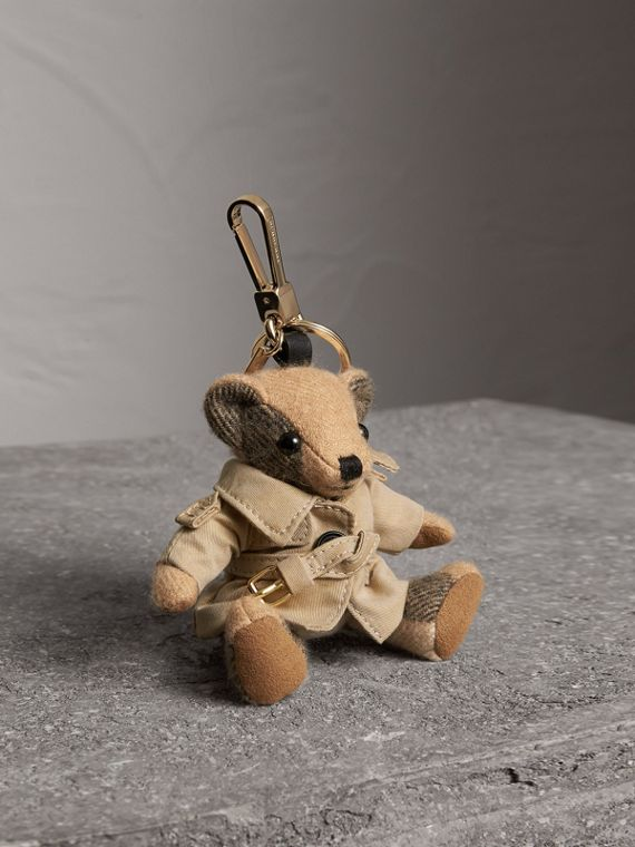Thomas Bear Charm in Trench Coat in Camel