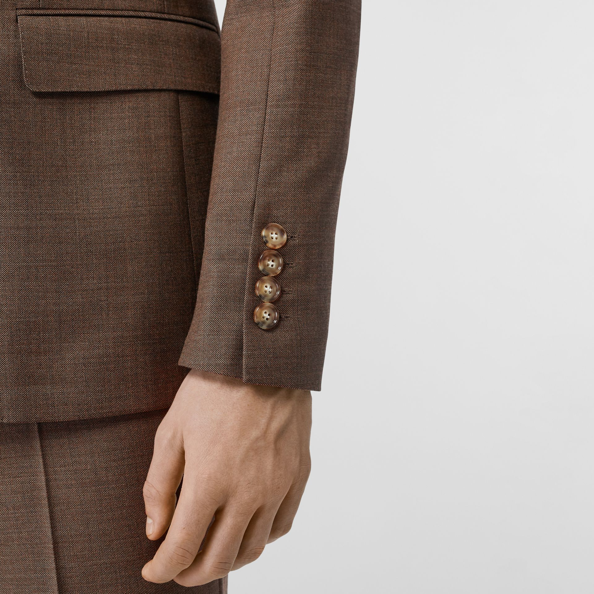 English Fit Sharkskin Wool Double-breasted Jacket in Deep Brown - Men | Burberry - gallery image 4