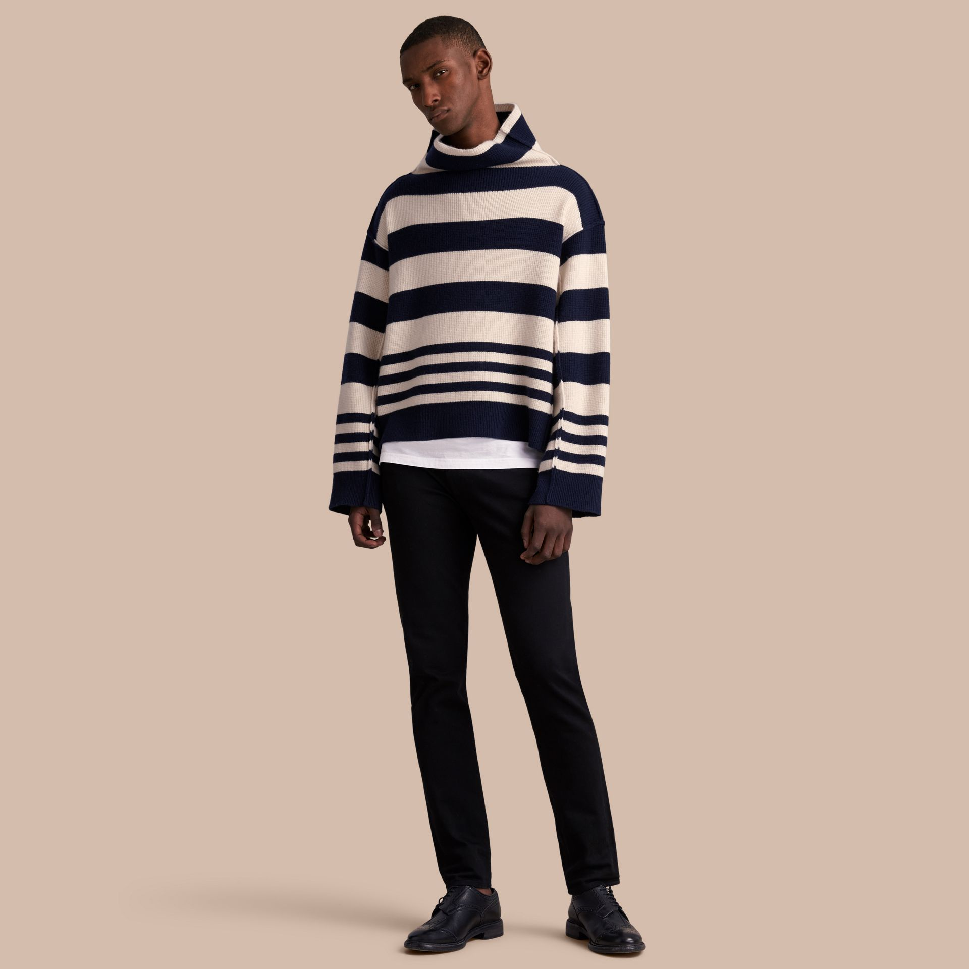 Striped Knitted Cashmere Roll-neck Sweater - Men | Burberry - gallery image 1