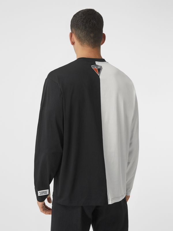 Haut oversize en coton à imprimé montage avec manches à découpes (Noir/blanc) - Homme | Burberry - cell image 2