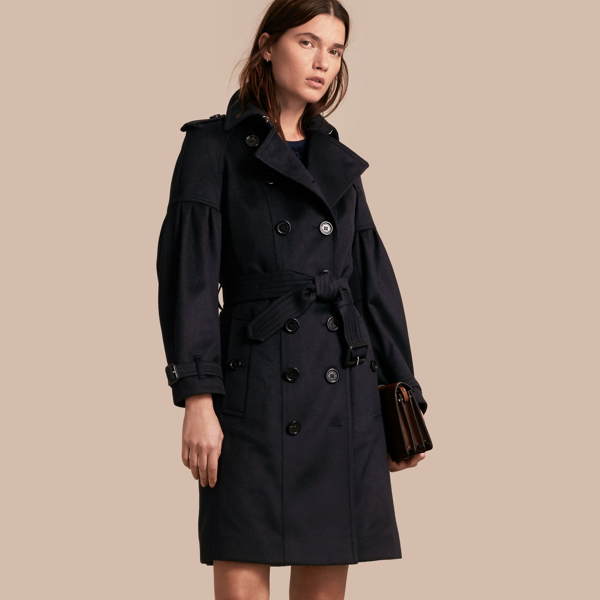 Navy Cashmere Trench Coat with Puff Sleeves Navy - gallery image 1