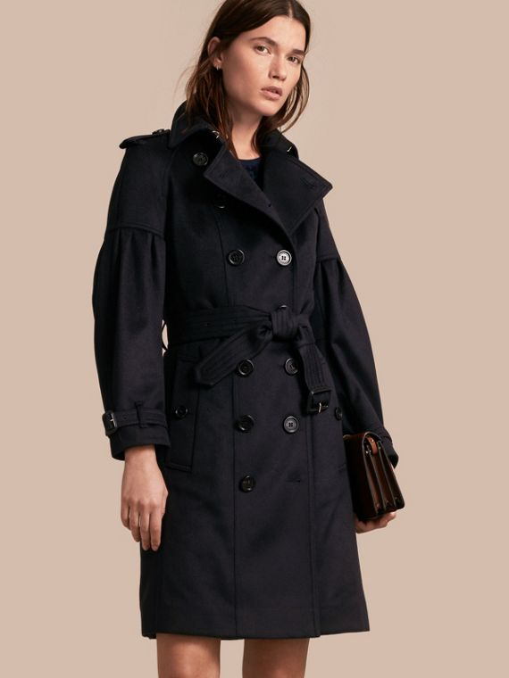 Cashmere Trench Coat with Puff Sleeves Navy