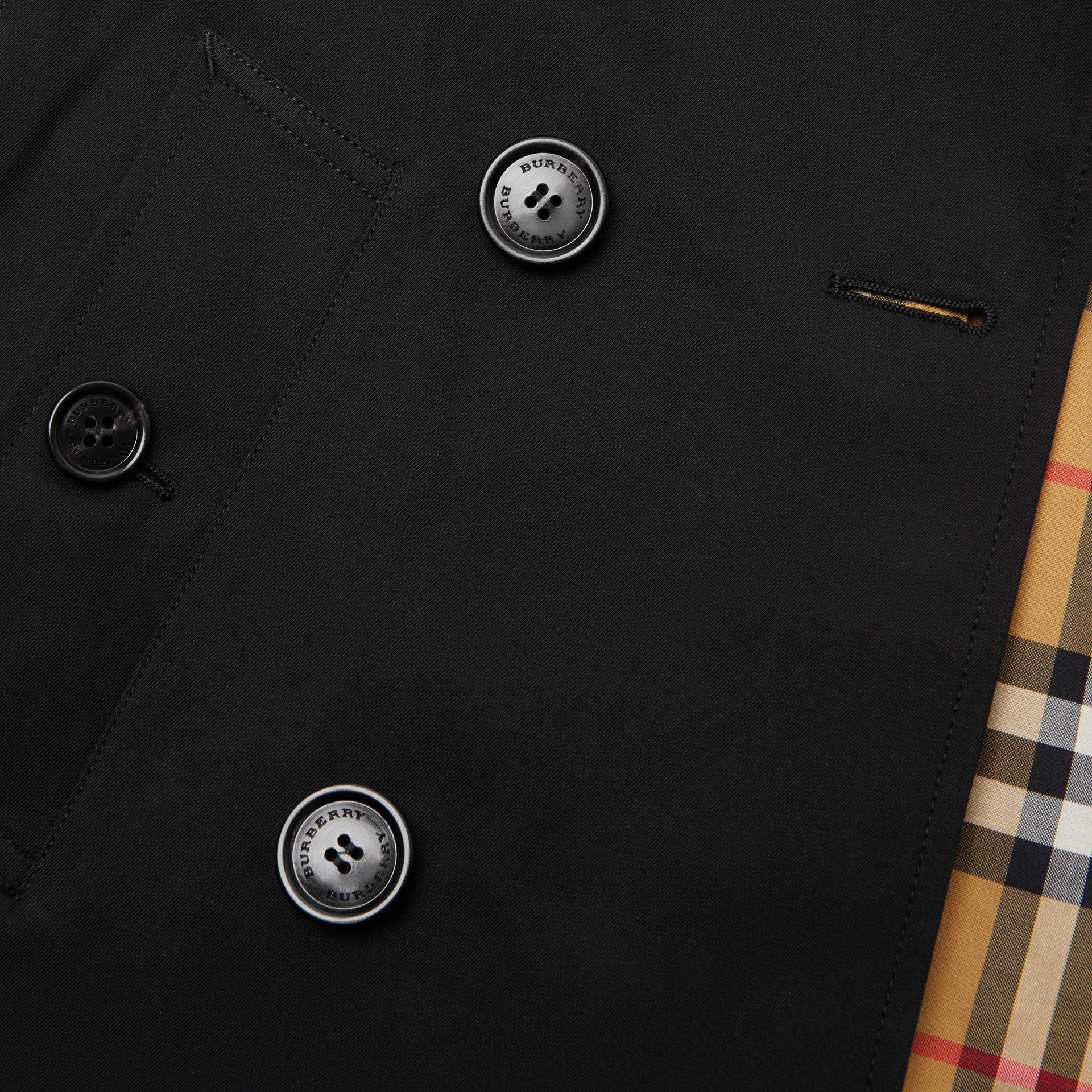 Cotton Gabardine Trench Coat in Black | Burberry - gallery image 1