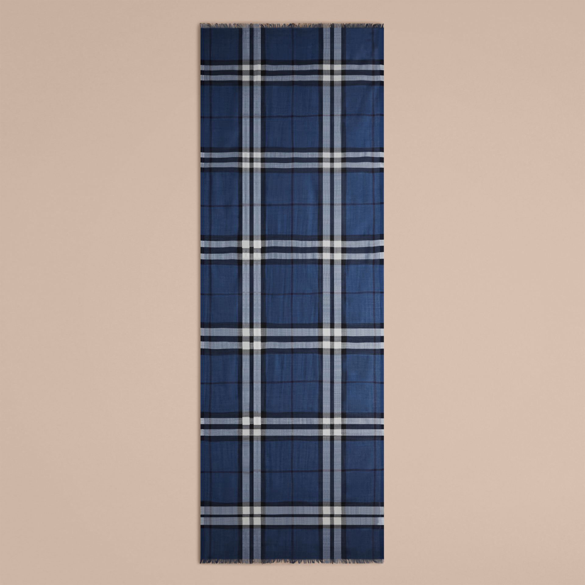 Cadet blue Lightweight Check Wool and Silk Scarf Cadet Blue - gallery image 5