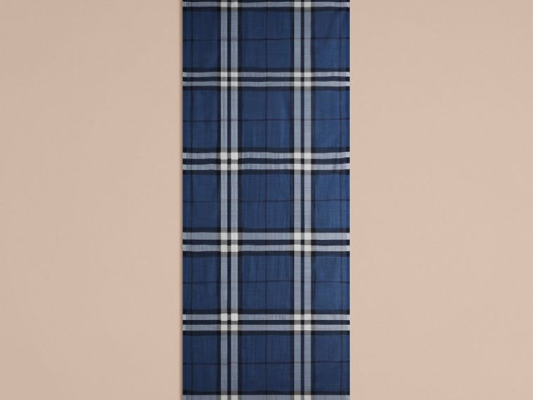 Cadet blue Lightweight Check Wool and Silk Scarf Cadet Blue - cell image 4