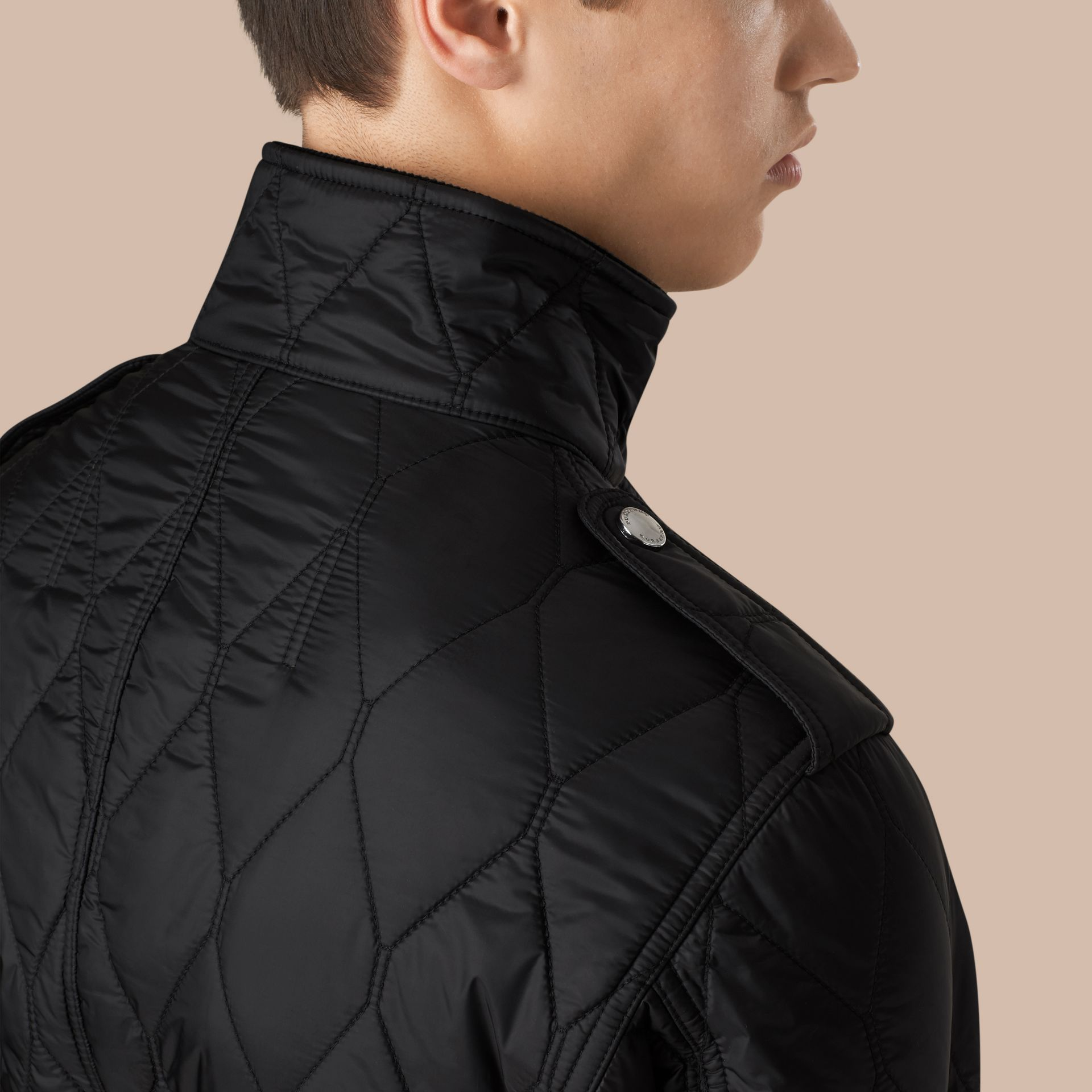 Diamond Quilted Field Jacket in Black - gallery image 5