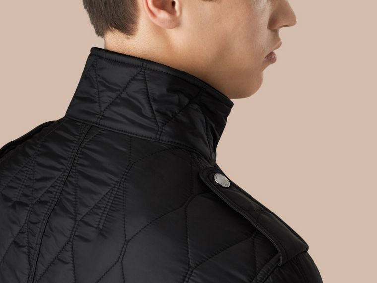 Diamond Quilted Field Jacket in Black - cell image 4
