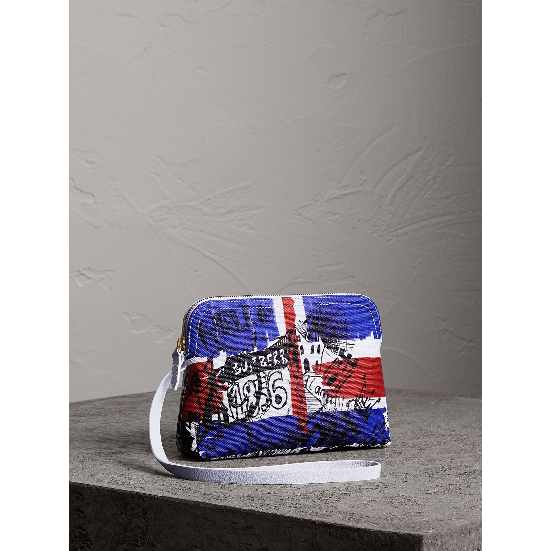 Large Zip-top Doodle Print Coated Canvas Pouch in Red/blue - Women | Burberry - gallery image 6