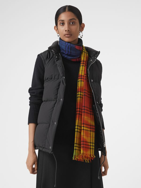 Tie-Dye Vintage Check Wool Silk Large Square Scarf in Multicolour | Burberry - cell image 3