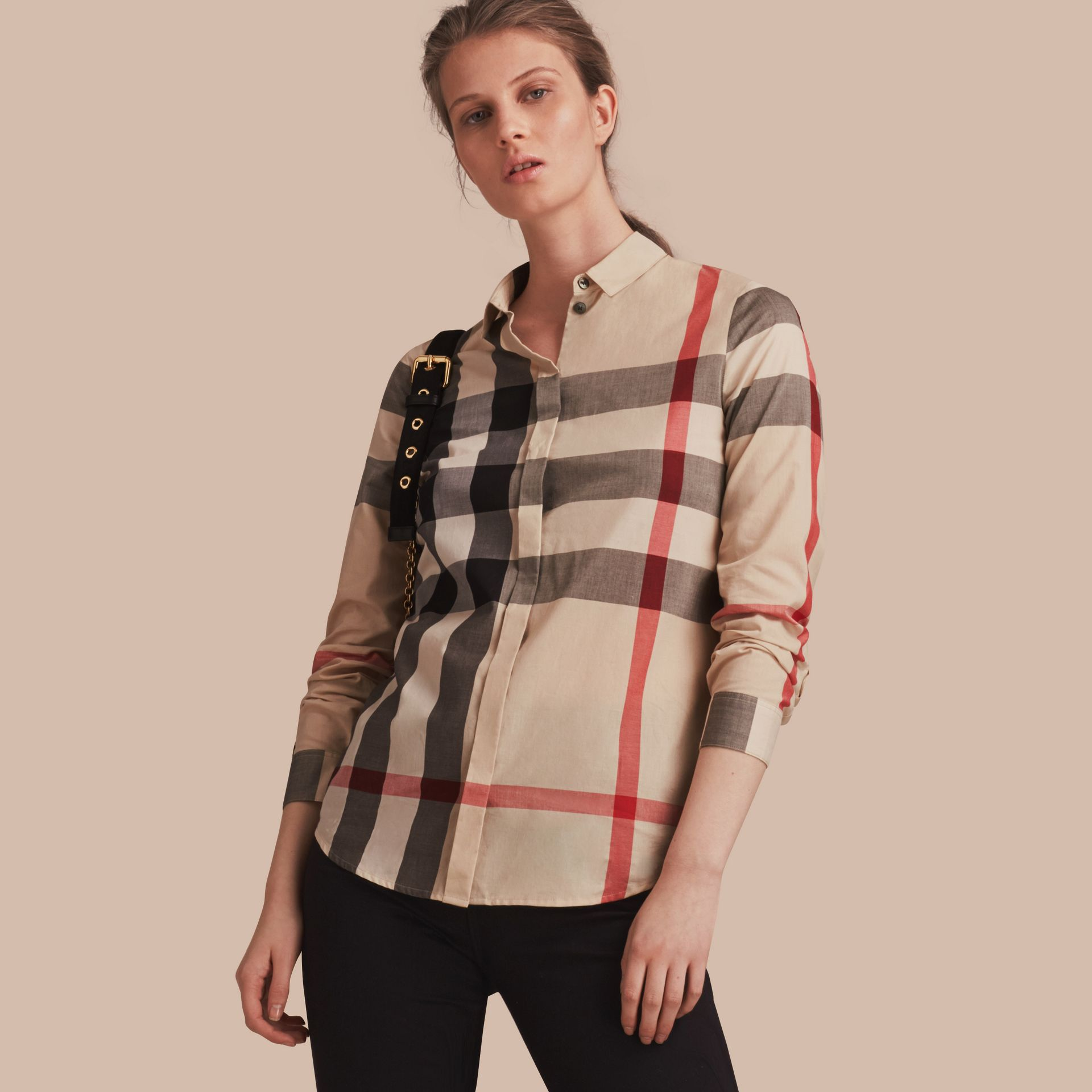 Check Cotton Shirt in New Classic - Women | Burberry - gallery image 1