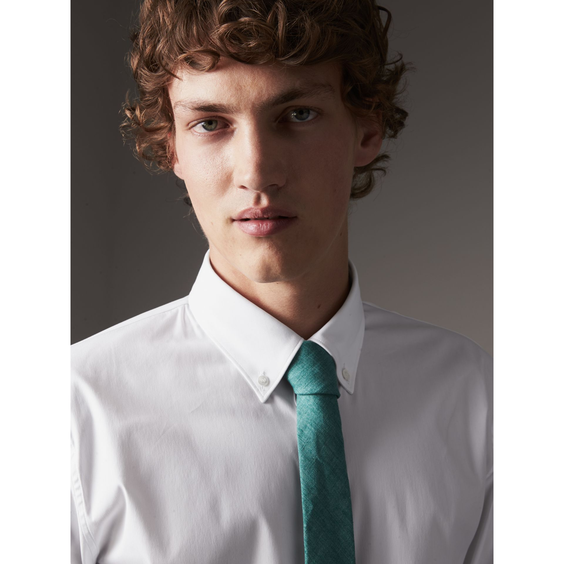 Slim Fit Button-down Collar Stretch-cotton Shirt in White - Men | Burberry Australia - gallery image 2