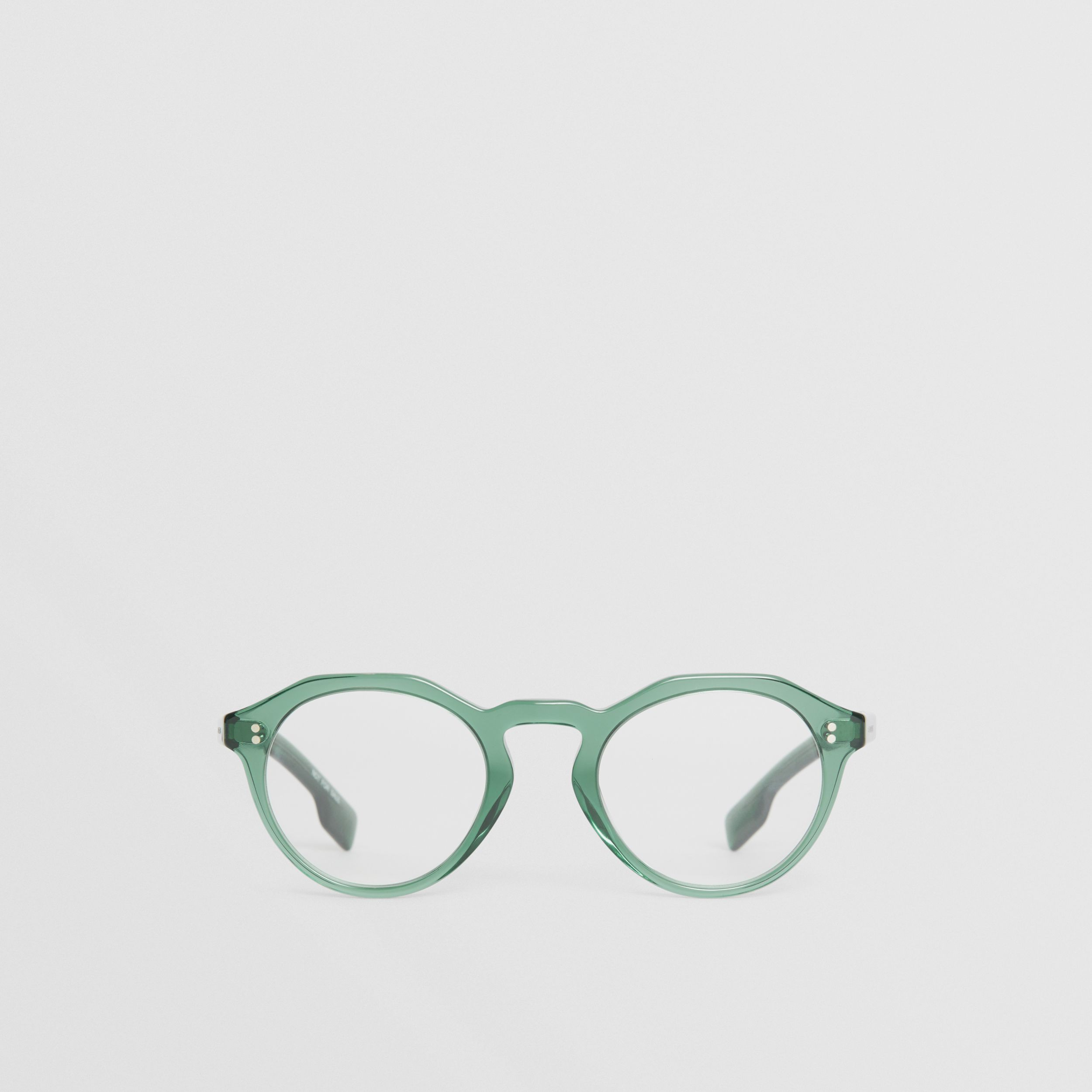 Keyhole Round Optical Frames in Green - Men | Burberry - 1