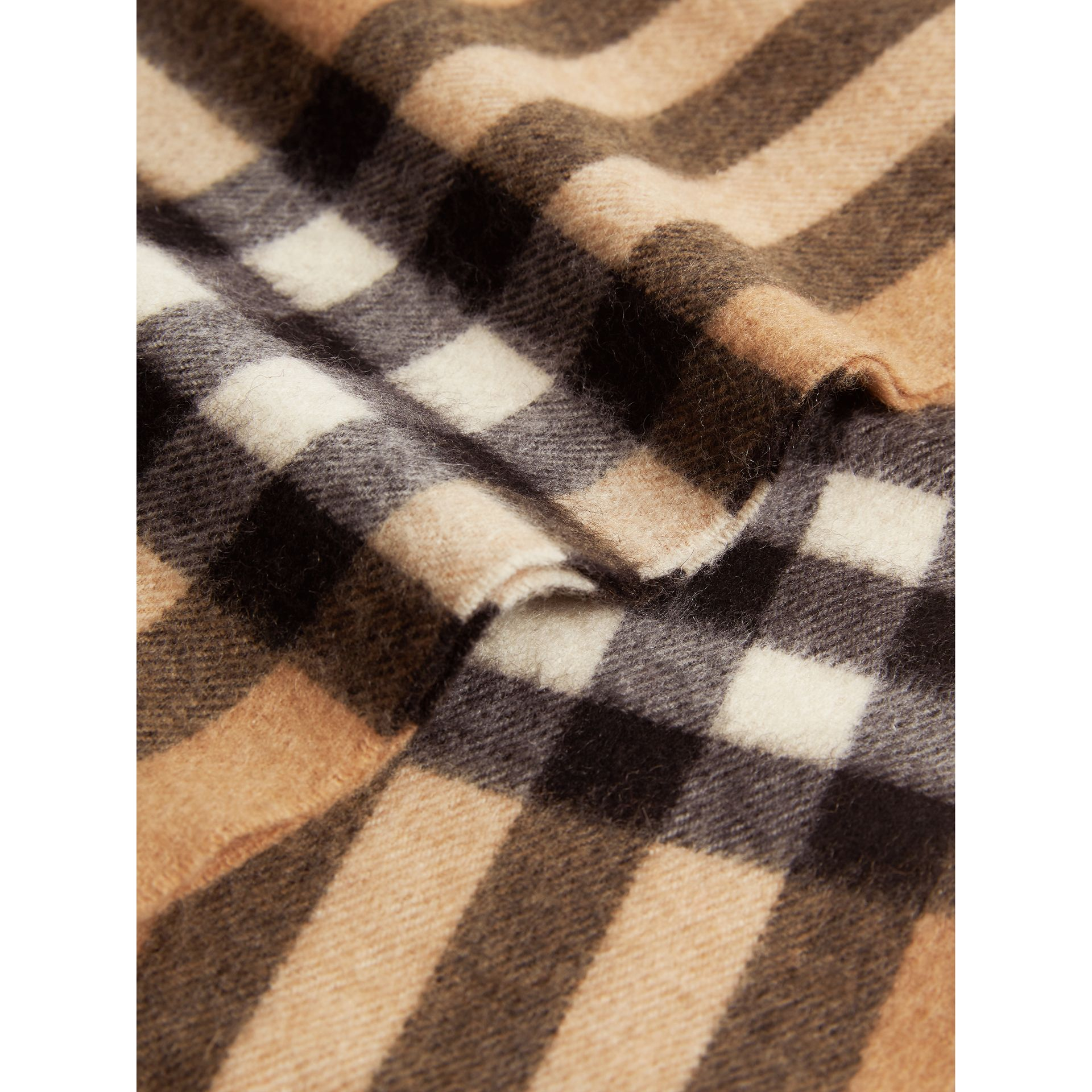 Exploded Check Cashmere Snood in Camel | Burberry United Kingdom - gallery image 1