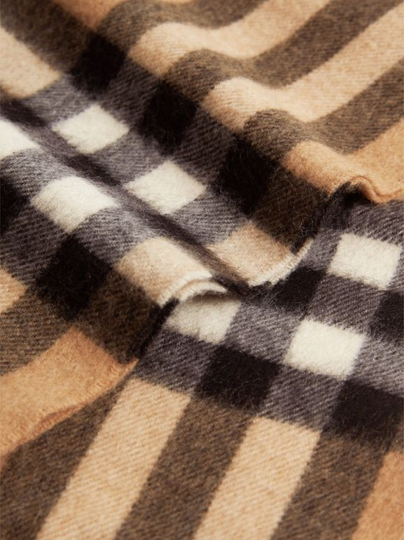 Exploded Check Cashmere Snood in Camel | Burberry United States - cell image 1