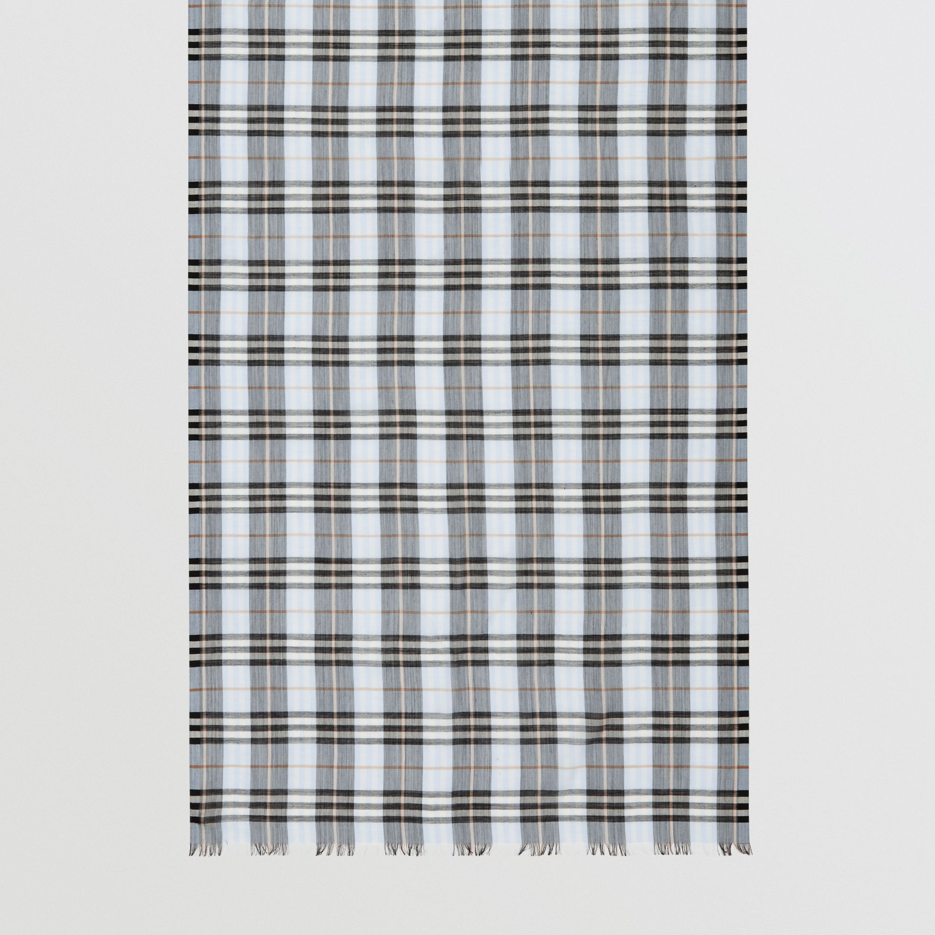 Vintage Check Lightweight Wool Silk Scarf in Pale Blue | Burberry Hong Kong S.A.R - gallery image 4