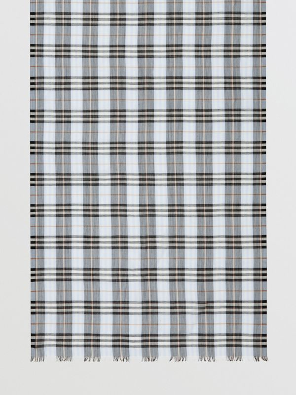 Vintage Check Lightweight Wool Silk Scarf in Pale Blue | Burberry - cell image 3
