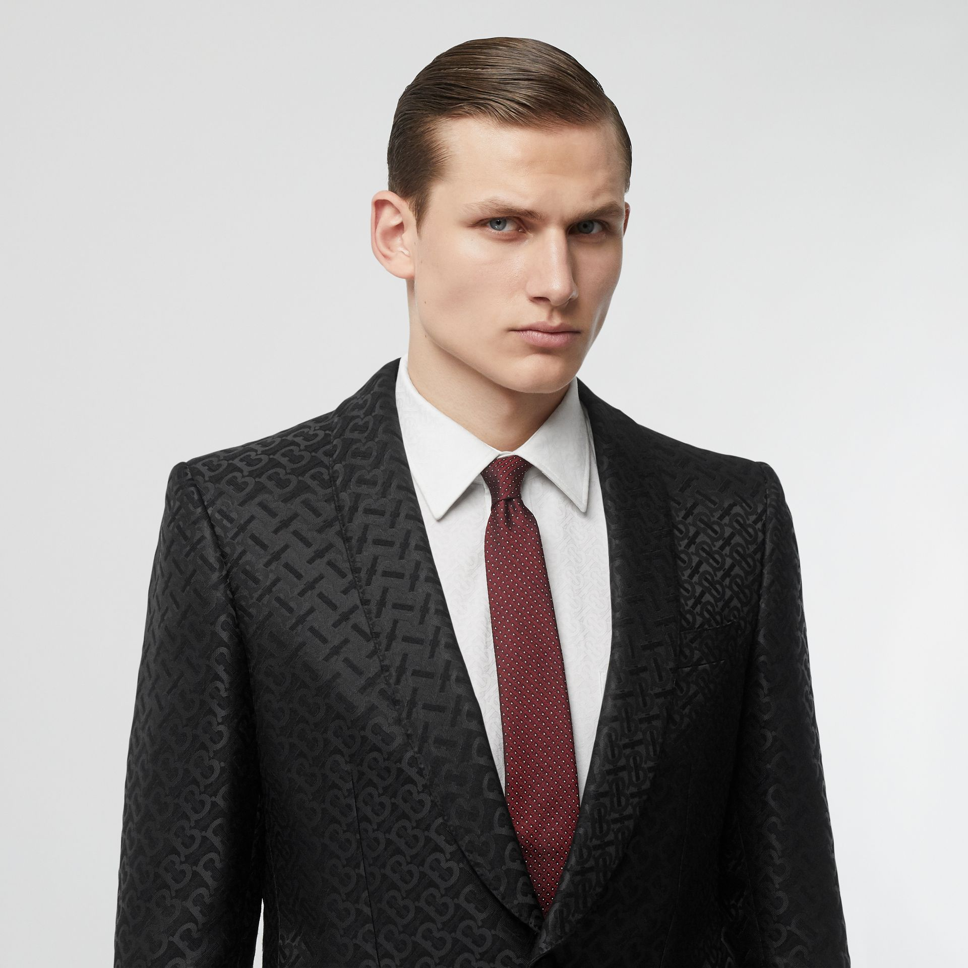 Classic Cut Micro Dot Silk Jacquard Tie in Oxblood - Men | Burberry - gallery image 2
