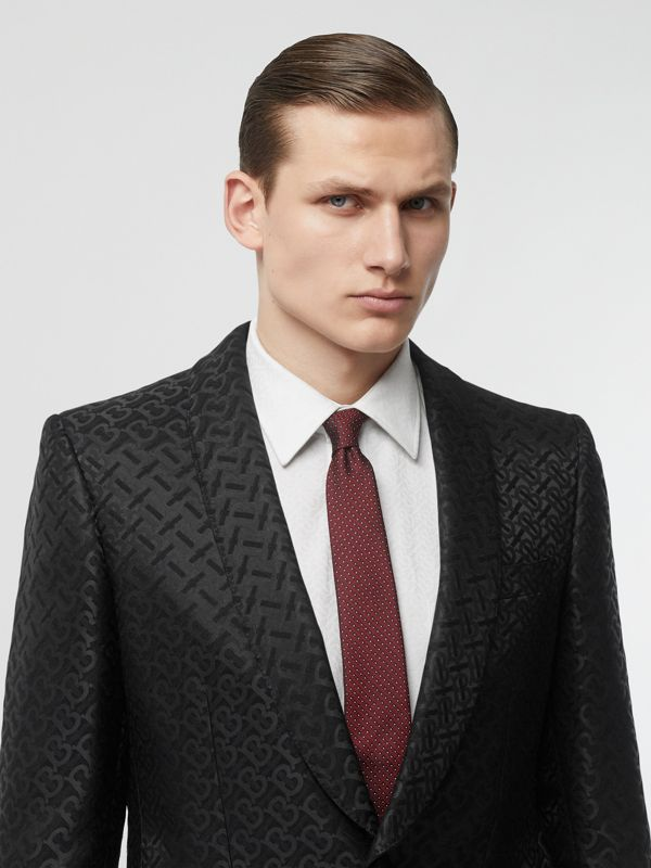 Classic Cut Micro Dot Silk Jacquard Tie in Oxblood - Men | Burberry - cell image 2