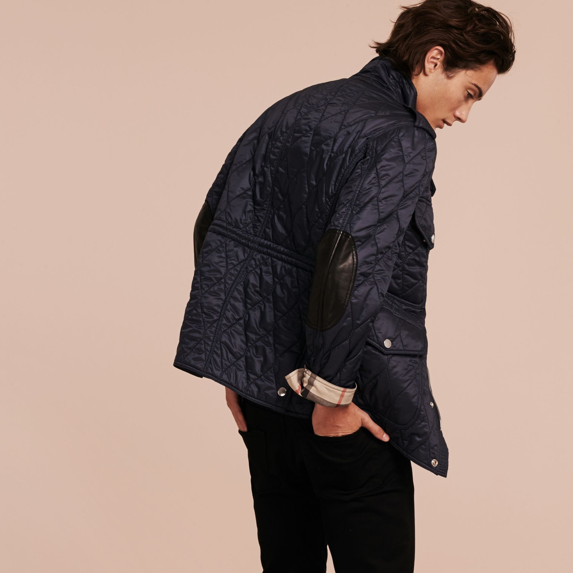 Diamond Quilted Field Jacket Navy - gallery image 3