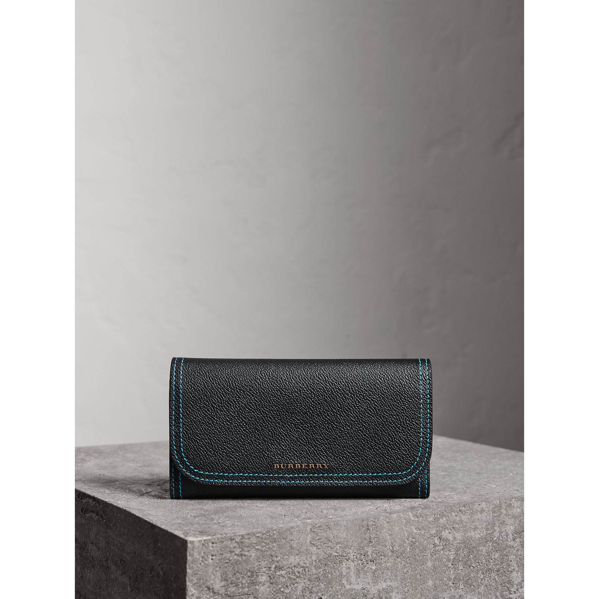 Colour Block Continental Wallet and Coin Case in Black/multicolour - Women | Burberry - gallery image 4