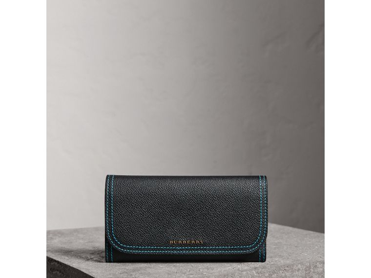 Colour Block Continental Wallet and Coin Case in Black/multicolour - Women | Burberry - cell image 4