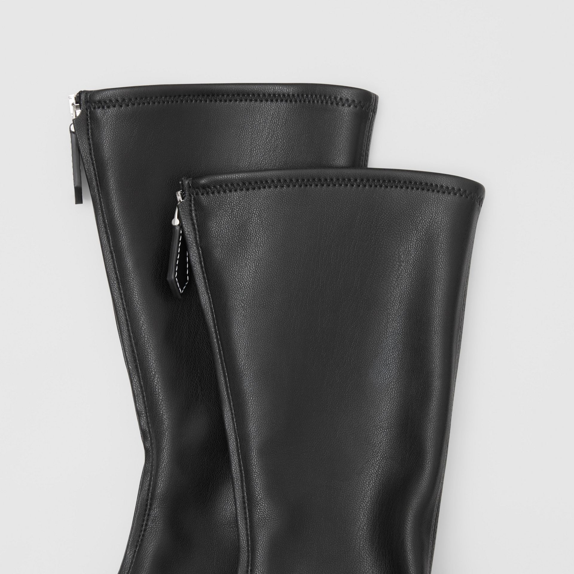 Faux Leather Mid-calf Socks in Black - Women | Burberry - gallery image 1
