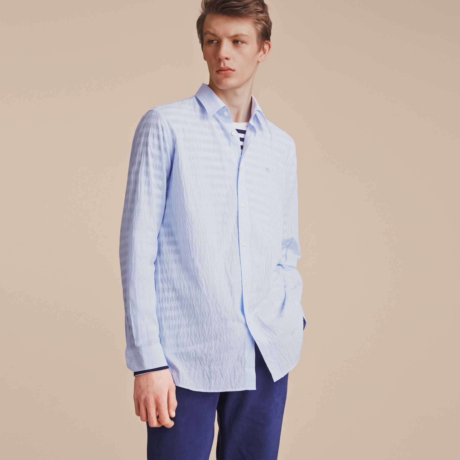 Striped Seersucker Stretch Cotton Shirt - gallery image 6