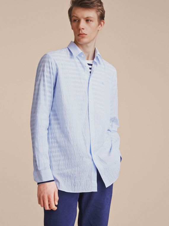 Striped Seersucker Stretch Cotton Shirt