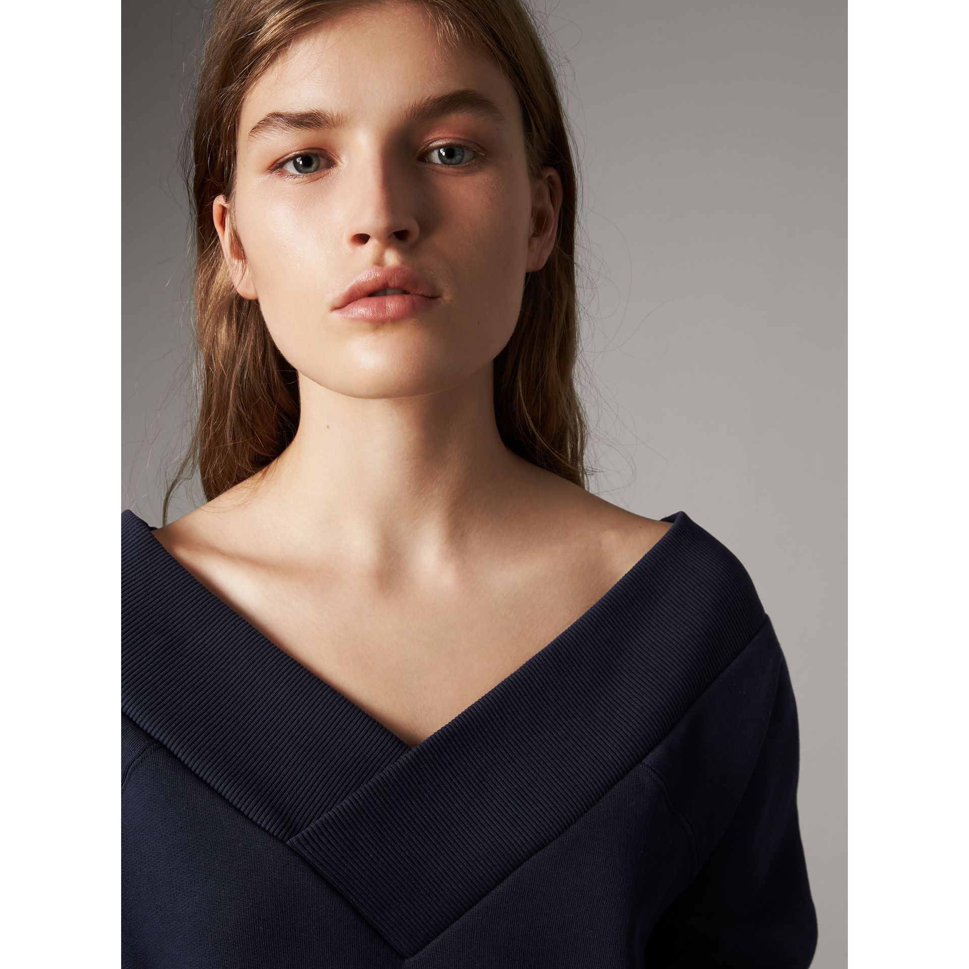 Cotton Blend V-neck Sweater Dress in Navy - Women | Burberry - gallery image 1