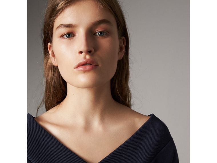 Cotton Blend V-neck Sweater Dress in Navy - Women | Burberry - cell image 1