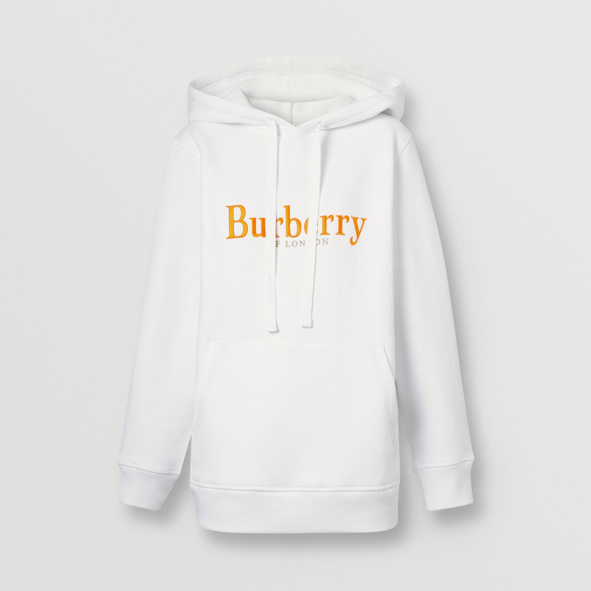 Embroidered Archive Logo Jersey Hoodie in White - Women | Burberry United Kingdom - gallery image 3