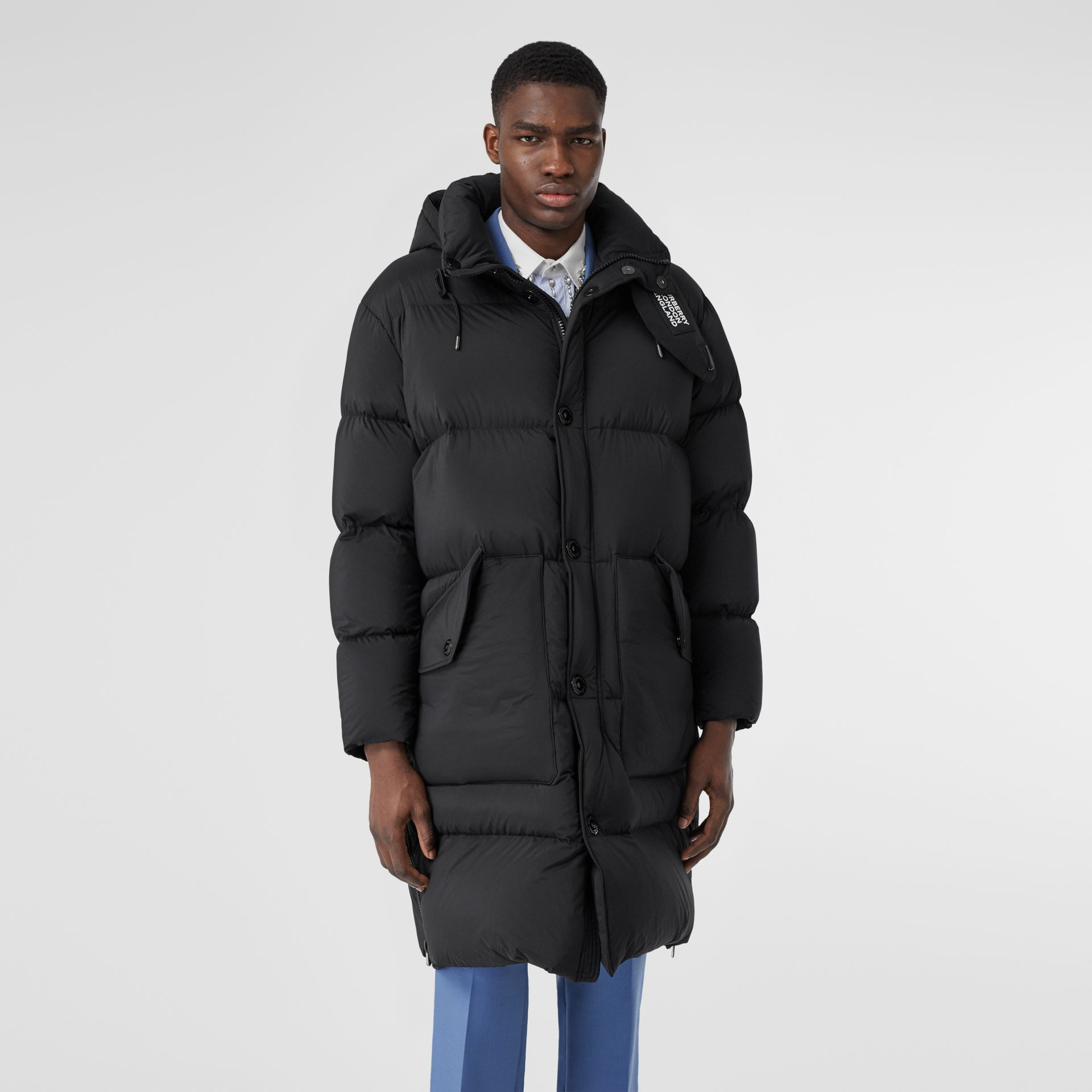 Detachable Hood Stretch Nylon Puffer Coat in Black - Men | Burberry United Kingdom - gallery image 6