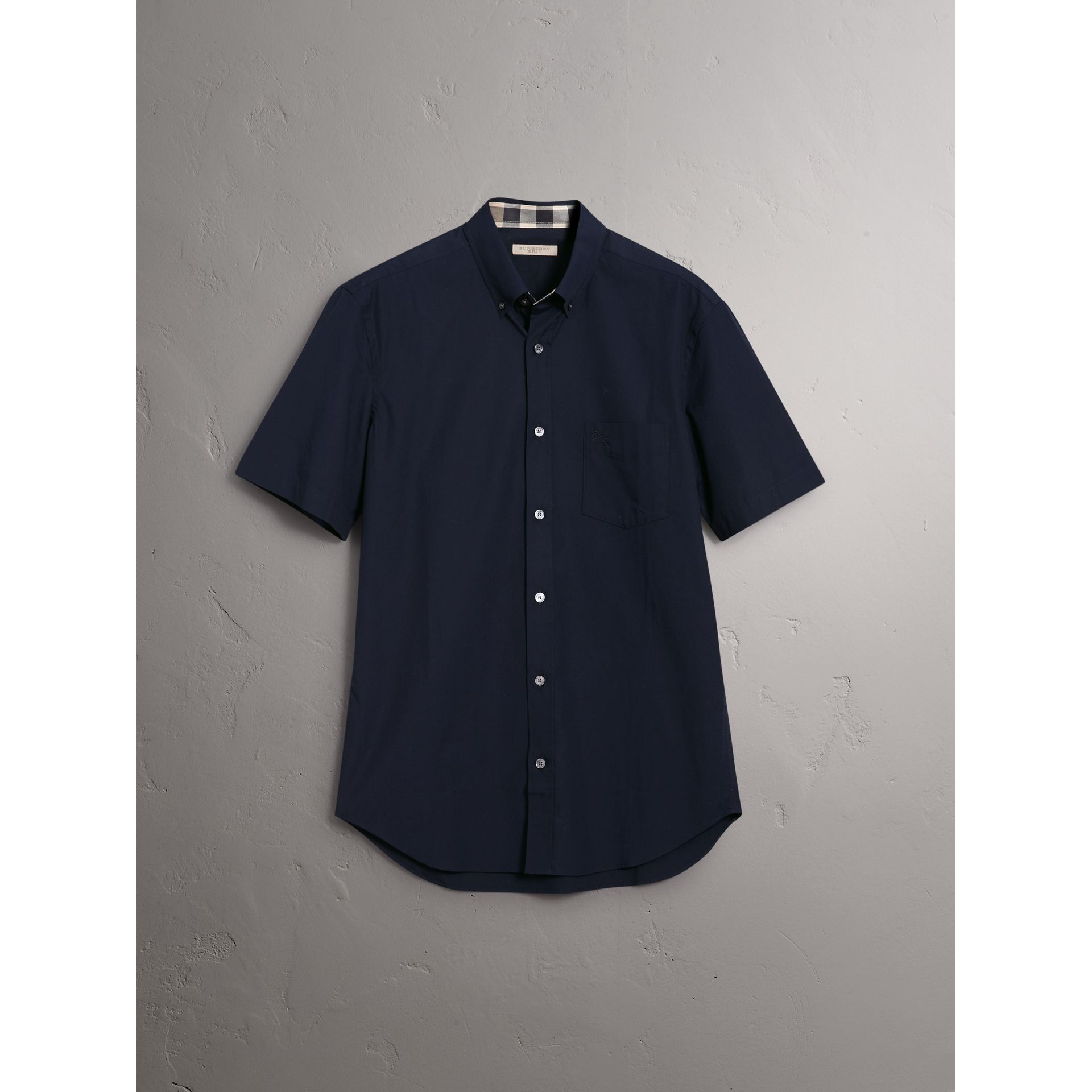 Short-sleeved Stretch Cotton Poplin Shirt in Navy - Men | Burberry - gallery image 3
