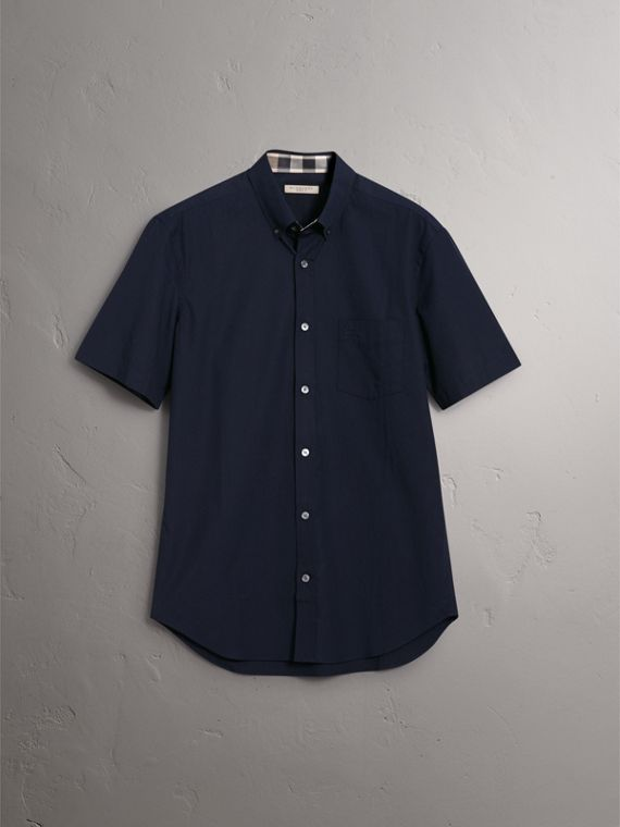 Short-sleeved Stretch Cotton Poplin Shirt in Navy - Men | Burberry - cell image 3