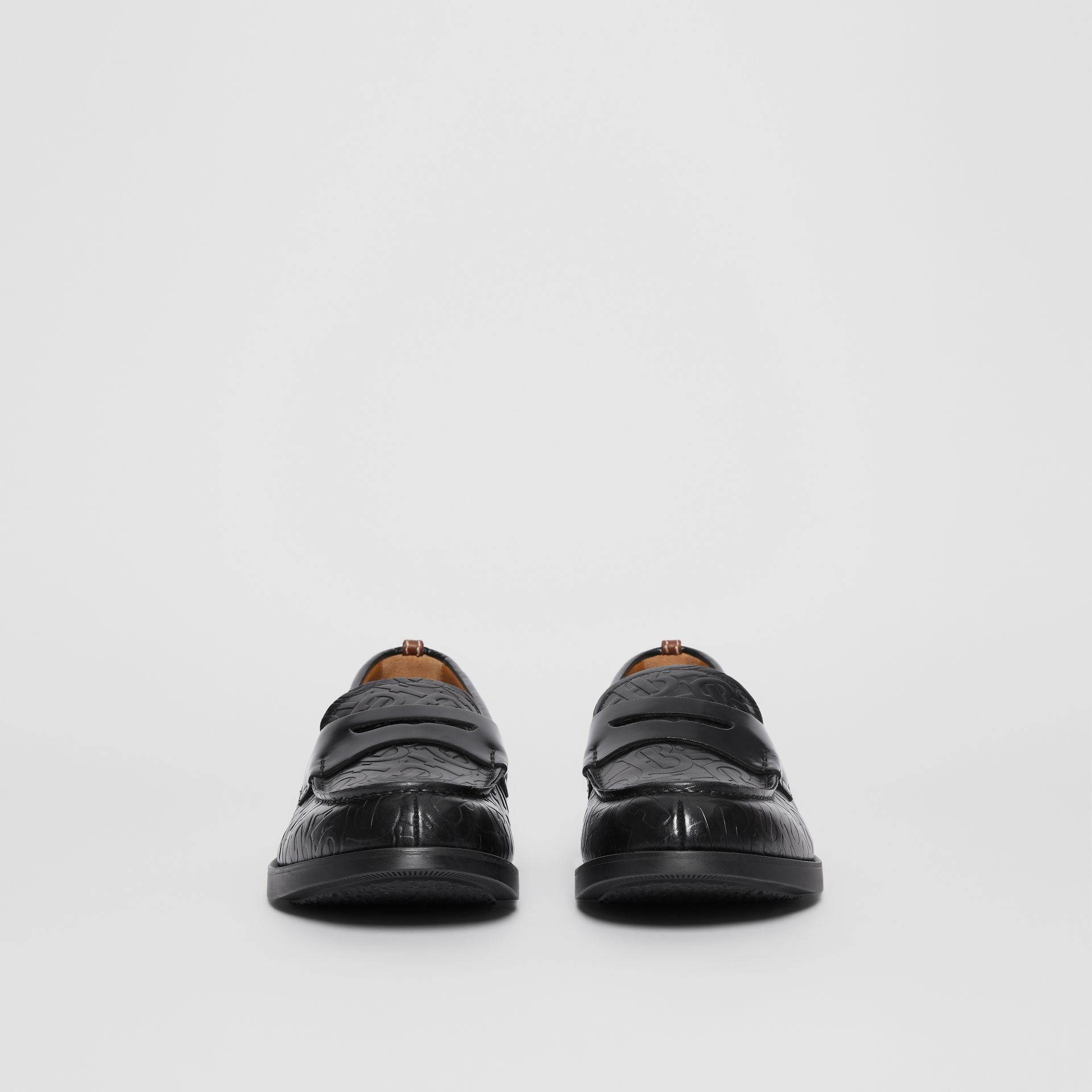 D-ring Detail Monogram Leather Loafers in Black - Men | Burberry Australia - gallery image 2