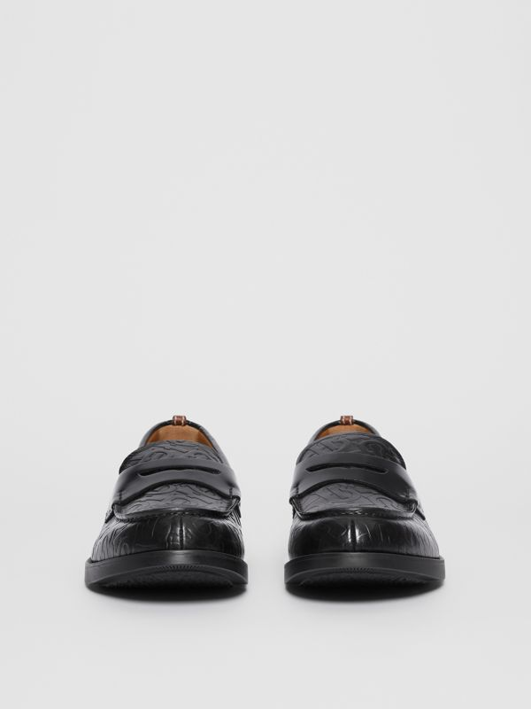 D-ring Detail Monogram Leather Loafers in Black - Men | Burberry Australia - cell image 2