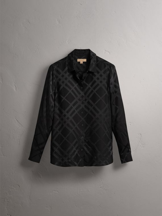 Tonal Check Silk Shirt in Black - Women | Burberry - cell image 3