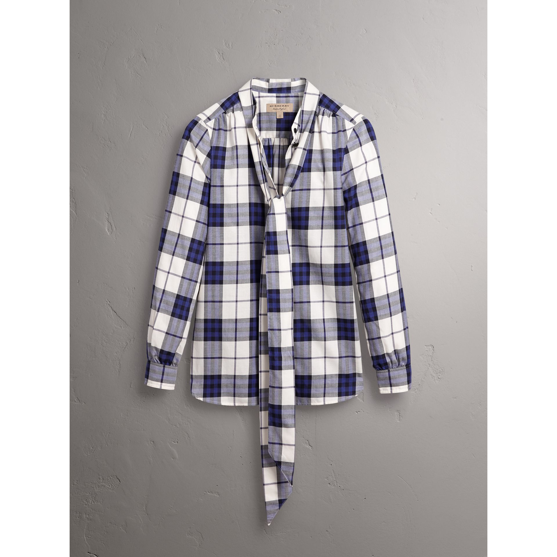 Pussy-bow Check Flannel Shirt in Bright Navy - Women | Burberry Hong Kong - gallery image 4