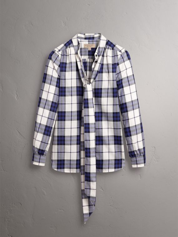 Pussy-bow Check Flannel Shirt in Bright Navy - Women | Burberry - cell image 3