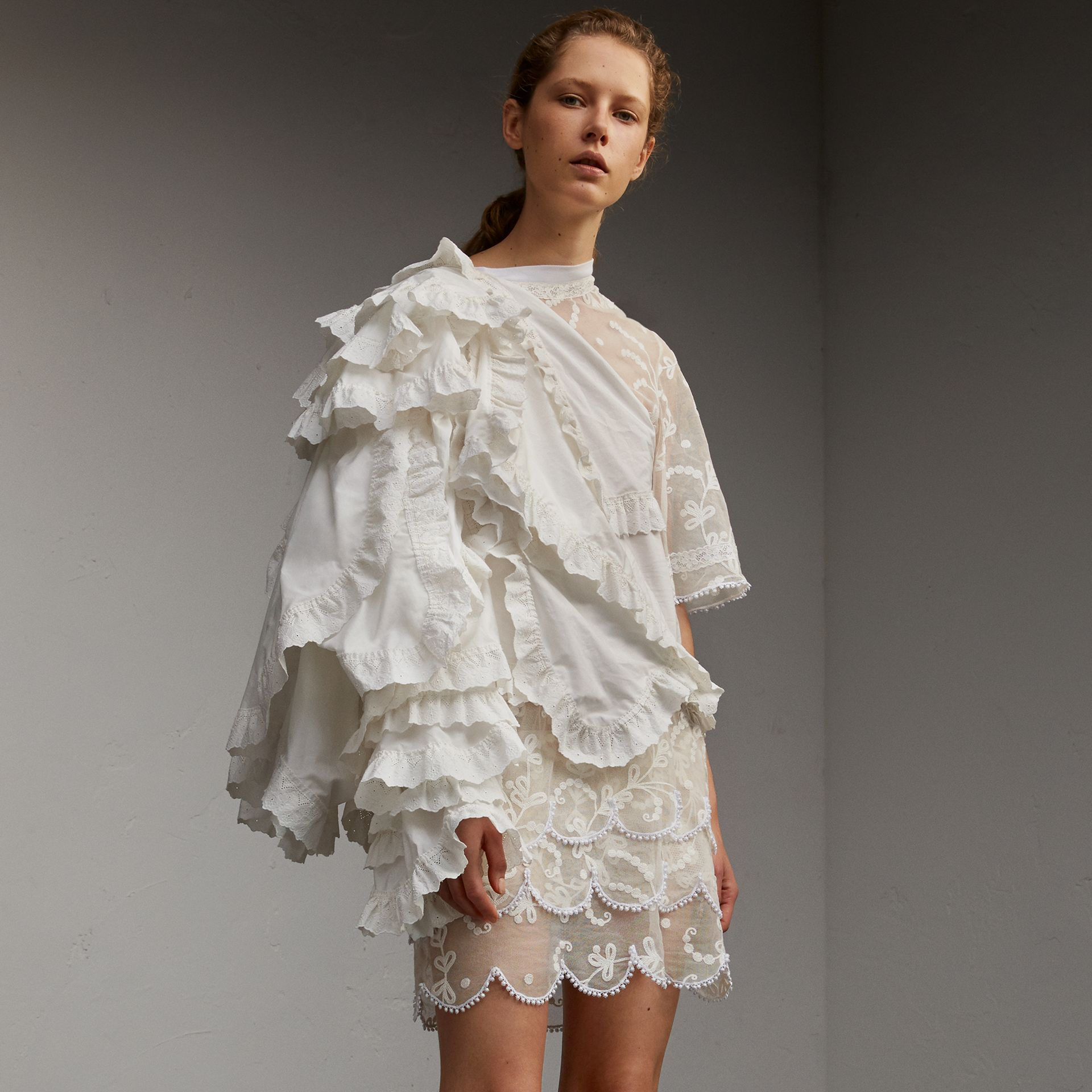 Broderie Anglaise Ruffle Cotton and Lace Dress - gallery image 1