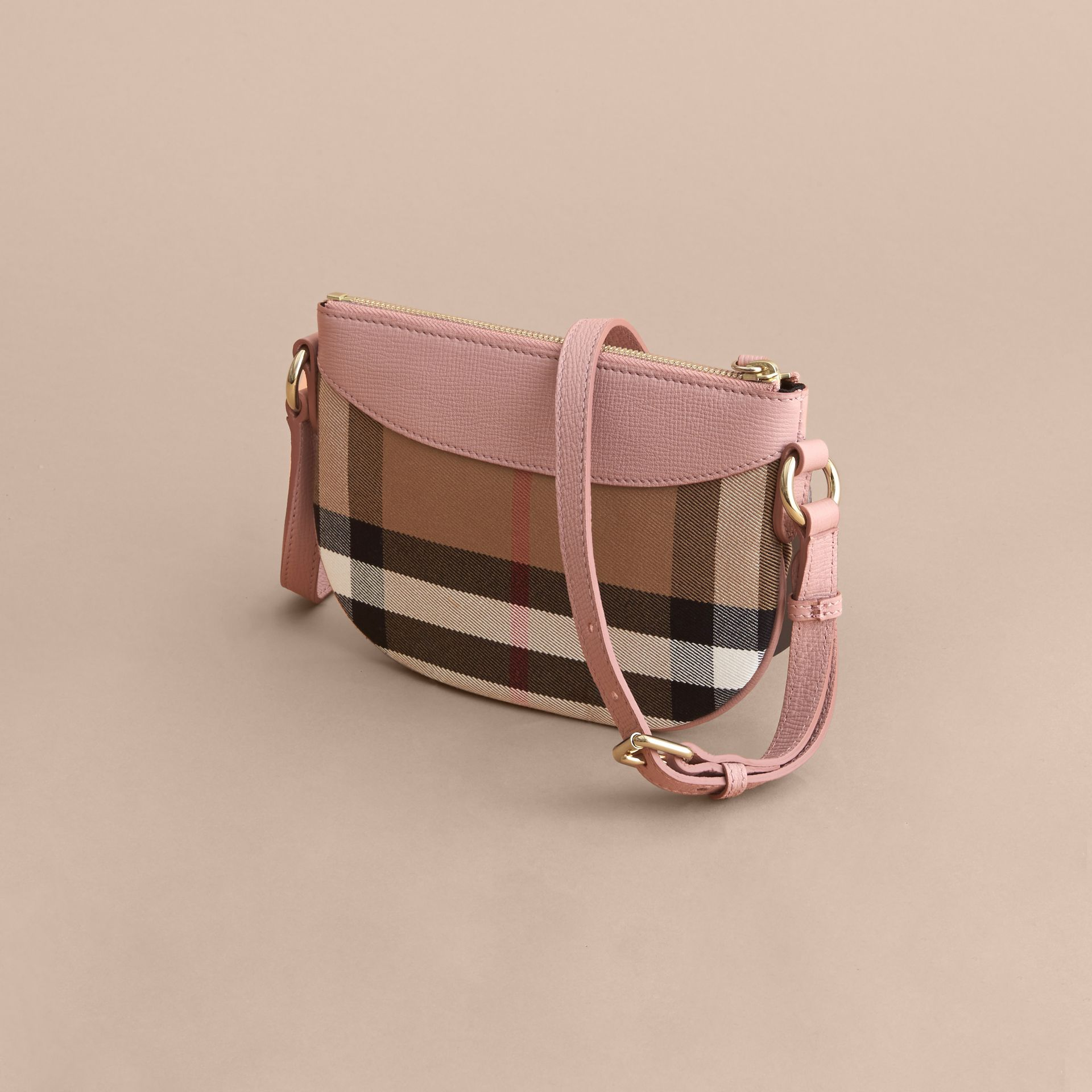 House Check and Leather Crossbody Bag in Pale Orchid | Burberry - gallery image 3