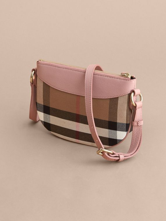 House Check and Leather Crossbody Bag in Pale Orchid | Burberry - cell image 2